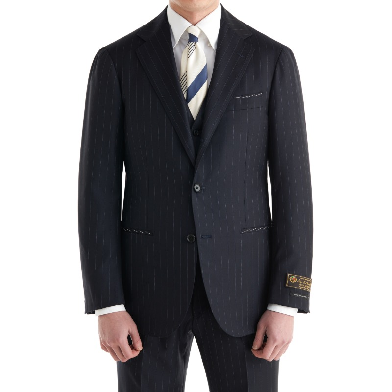 ANDREA SEOUL H GRADE X RING JACKET (링마에등급) SUITS(JACKET+PANTS) X ITALY, LORO PIANA DARK NAVY STRIPES.