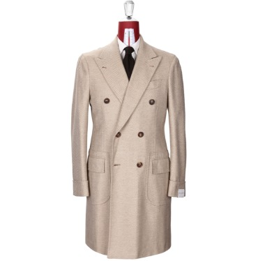 ORAZIO LUCIANO MOD.202 POLO COAT / HOLLAND & SHERRY CASHMERE & WOOL BEIGE HERRINGBONE PRODUCT.49