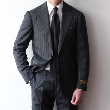 [ONE SIZE SALE] RING JACKET X ANDREA SEOUL H GRADE(링마에) / ITALY, LORO PIANA CHARCOAL GREY STRIPES SUITS