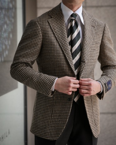 RING JACKET MEISTER LABEL X ABRAHAM MOON AND SONS / MOON TWEED BROWN GUN CLUB CHECK SPORTS COAT