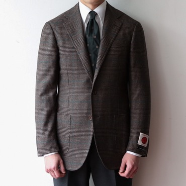 RING JACKET BLACK LABEL X MARLINGANDEVANS CHEST NUT BROWN / EMERALD GLEN CHECK SPORTS COAT