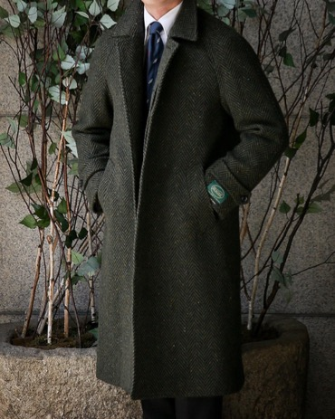 RING JACKET CLASSIC BALMACAAN COAT IRELAND MAGEE DARK GREEN DONEGAL HERRINGBONE