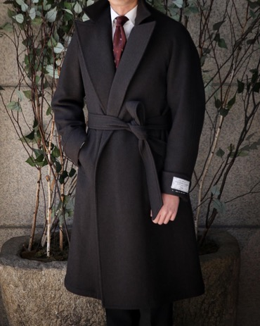 RING JACKET ROBE COAT (RJCO-09) ITALY, VITALE BARBERIS CANONICO DOUBLE FACE HEAVY WOOL DARK BROWN