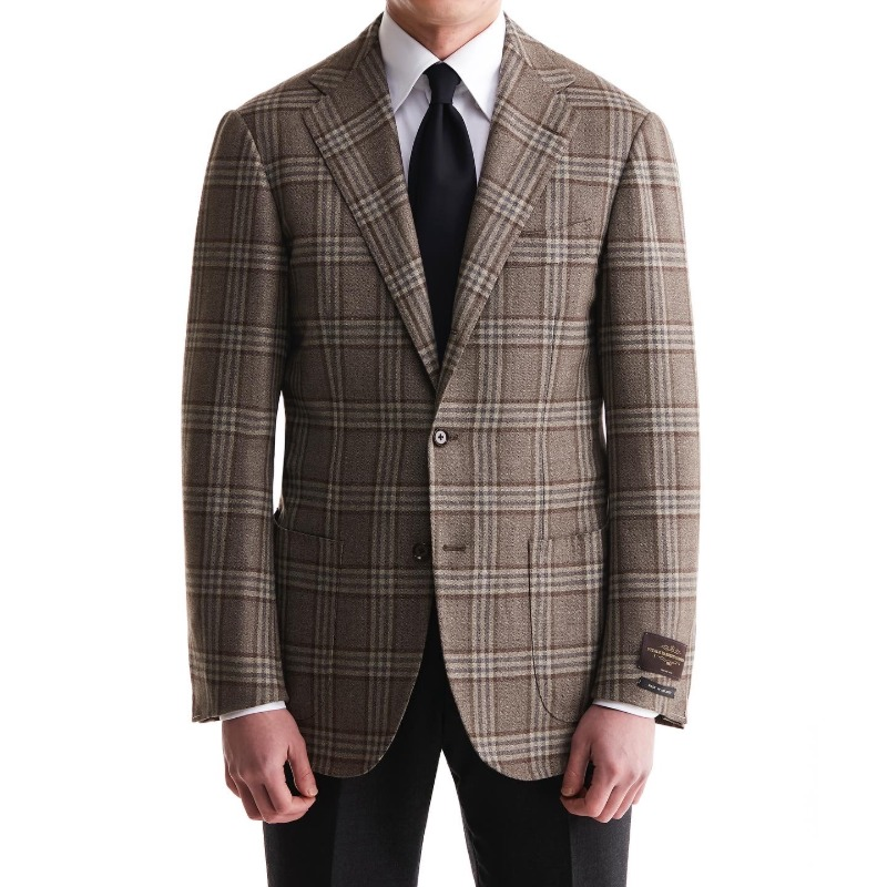 ANDREA SEOUL BLACK LABEL X RING JACKET (블랙라벨 등급) SPORTS COAT X ITALY, VITALE BARBERIS CANONICO GRAYISH BROWN/BLUE CHECK
