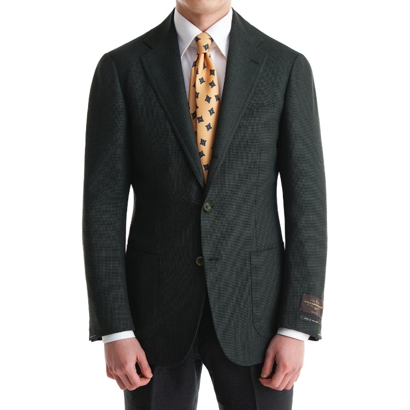 ANDREA SEOUL BLACK LABEL X RING JACKET (블랙라벨 등급) SPORTS COAT X ITALY, VITALE BARBERIS CANONICO DARK GREEN HOPSACK