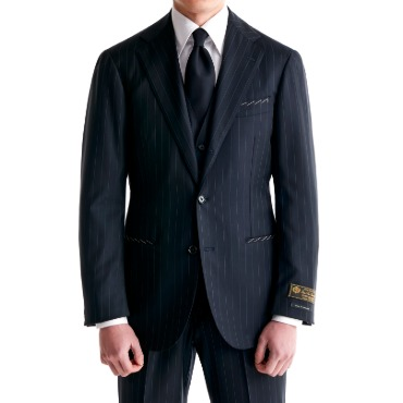 ANDREA SEOUL H GRADE X RING JACKET (링마에등급) SUITS(JACKET+PANTS) X ITALY, LORO PIANA DARK NAVY STRIPES
