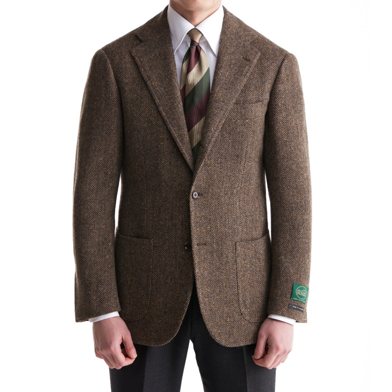 ANDREA SEOUL H GRADE X RING JACKET (링마에등급) SPORTS COAT X IRELAND, MAGEE BROWN HERRING BONE/DONEGAL TWEED