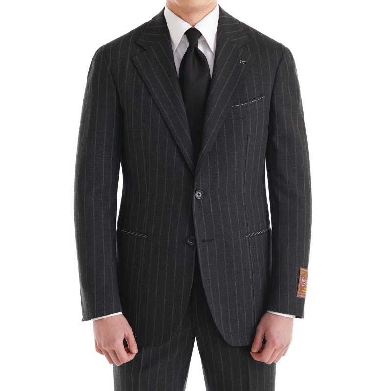 CORALLO ROSSO SUITS(JACKET+PANTS) X SCOTLAND, LOVAT BARD BUNCH CHARCOAL GREY STRIPES